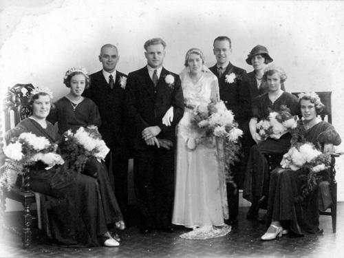 Wedding of Doris Kimber and Samuel (Bert) Rose in 1934; (left to right) Maude Gale, Joyce West, Arthur Kimber, Samuel Rose, Doris Kimber, Ernest Kimber, Rose Kimber, Beryl Smith and Elsie Kimber.